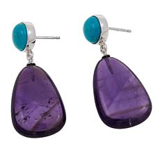 Jay King Angel Peak Turquoise & Amethyst Sterling Silver Drop Earrings