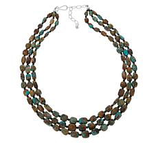 Jay King Azure Peaks Turquoise and Black Spinel 3-Strand Necklace