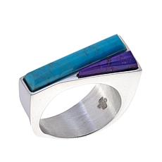 Jay King Blue and Purple Turquoise Inlay Ring