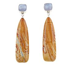 Jay King Blue Lace Agate and Wagyl Stone Drop Earrings