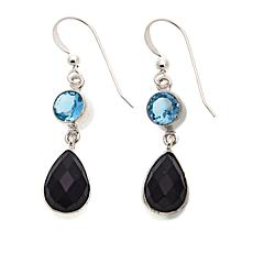 Jay King Blue Topaz and Black Agate Drop Sterling Silver Earrings