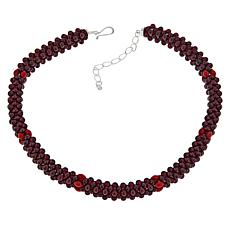 Jay King Brown Garnet and Red Sea Bamboo Coral Necklace