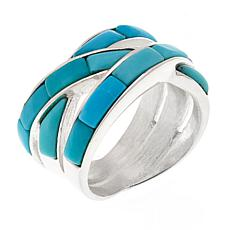 Jay King Campitos Turquoise Sterling Crossover Ring