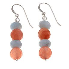 Jay King Carnelian and Aquamarine Bead Drop Earrings
