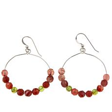 Jay King Carnelian and Peridot Hoop Drop Earrings