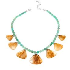 """Jay King Chrysoprase and Sunshine Quartz 18"""" Sterling Silver Necklace"""