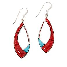 Jay King Coral and Cloudy Mountain Turquoise Drop Earrings