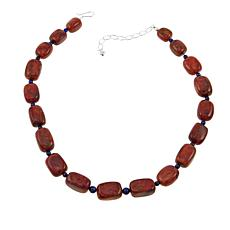 """Jay King Coral and Lapis Bead 18-1/2"""" Sterling Silver Necklace"""