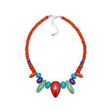 "Jay King Coral and Multigemstone 18-1/4"" Necklace"