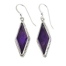 Jay King Diamond-Shape Amethyst Drop Sterling Silver Earrings