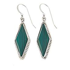 Jay King Diamond-Shape Malachite Drop Sterling Silver Earrings