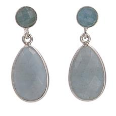 Jay King Faceted Blue Aquamarine Sterling Silver Drop Earrings