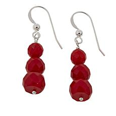 Jay King Faceted Red Sea Bamboo Coral 3-Bead Drop Earrings
