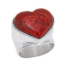 Jay King Ginger Coral Heart Sterling Silver Ring