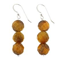 Jay King Golden Tiger's Eye Bead Drop Sterling Silver Earrings