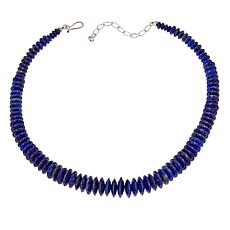 "Jay King Graduated Lapis Bead 18"" Sterling Silver Necklace"
