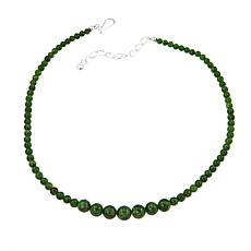"Jay King Green Chrome Diopside Bead 18"" Sterling Silver Necklace"