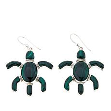 Jay King Green Malachite Turtle Sterling Silver Earrings