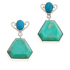 Jay King Green Opal and Sleeping Beauty Turquoise Drop Earrings