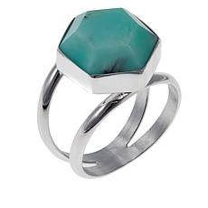 Jay King Green Opal Hexagonal Sterling Silver Ring