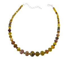 """Jay King Green Reef Opal Bead Sterling Silver 18"""" Necklace"""
