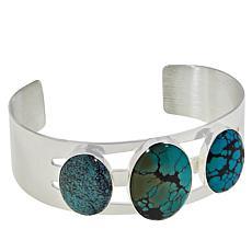 Jay King Hubei Spider Web Turquoise 3-Stone Cuff Bracelet