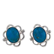 Jay King Kingman Blue Basin Turquoise Oval Filigree Stud Earrings