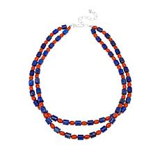 "Jay King Lapis and Orange Coral Bead 18"" Necklace"