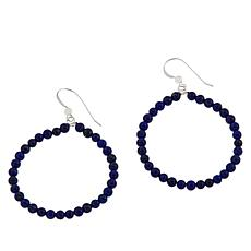 Jay King Lapis Bead Hoop Drop Sterling Silver Earrings