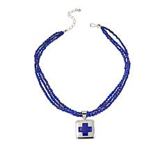 "Jay King Lapis Cross Sterling Silver Pendant with 18"" Necklace"