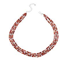 "Jay King Layered Carnelian and Aquamarine Bead 18"" Necklace"