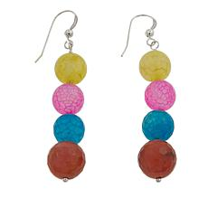 Jay King Multicolor Agate Bead Sterling Silver Dangle Earrings