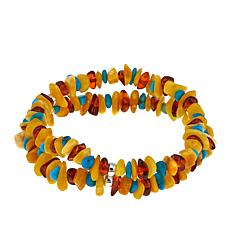 Jay King Multicolor Amber and Turquoise Chip Stretch Bracelet