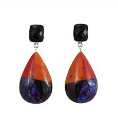 Jay King Multigemstone Inlay Pear-Shape Drop Earrings
