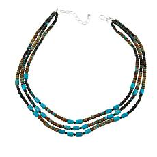"Jay King Obsidian and Seven Peaks Turquoise Bead 18"" Necklace"