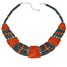 "Jay King Orange Coral and Multi-Row Turquoise 18"" Necklace"