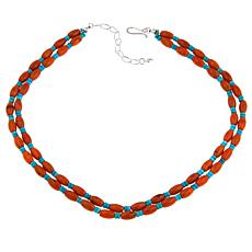 "Jay King Orange Coral and Turquoise 18"" Necklace"