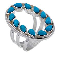 Jay King Pear Campitos Turquoise Sterling Silver Open Circle Ring