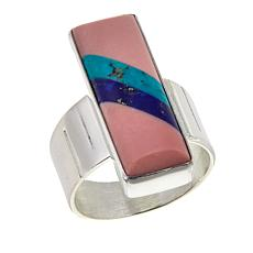 Jay King Pink Opal, Lapis and Turquoise Inlay Sterling Silver Ring