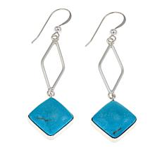 Jay King Red Skin Turquoise Drop Sterling Silver Earrings