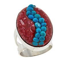 Jay King Red Spiny Oyster Shell and Turquoise Inlay Ring