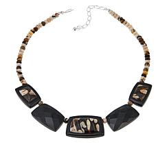 "Jay King Reversible Peanut Wood and Black Amphibole 18"" Necklace"