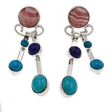 Jay King Rhodochrosite, Lapis and Turquoise Drop Earrings