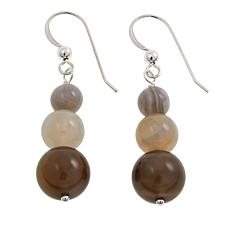 Jay King Round Agate Graduated Bead Sterling Silver Drop Earrings