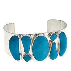"Jay King Seven Peaks Turquoise 7-Stone Sterling Silver 6-1/2"" Cuff"