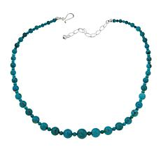 "Jay King Seven Peaks Turquoise Bead 18"" Sterling Silver Necklace"