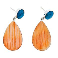 Jay King Spiny Oyster Shell and Turquoise Sterling Silver Earrings
