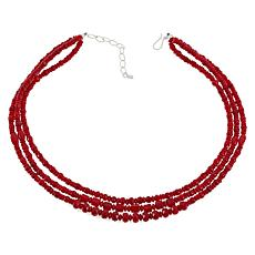 Jay King Sterling Silver 3-Strand Red Sea Bamboo Coral Bead Necklace