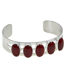 Jay King Sterling Silver 5-Stone Red Coral Cuff Bracelet