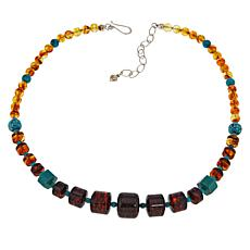 Jay King Sterling Silver Amber and Turquoise Bead Necklace
